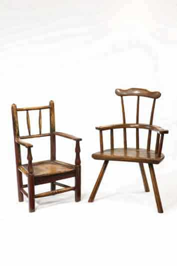 clisset childs chair & primitive welsh comb back childs chair