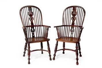 Near pair of large yew and elm Windsor armchairs, mid 19th century - for sale