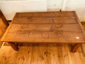 101 pre-owned coffee table, 'H' stetcher, 60_ x 48_ x 19_, character oak, antique light finish - top