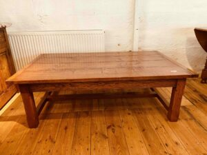 101 pre-owned coffee table, 'H' stretcher, 60_ x 36_ x 19_h, antique light finish
