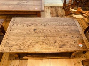 103 pre-owned coffee table, two drawers and potboard, 48_ x 27_ x 19_, character oak, antique light finish - top