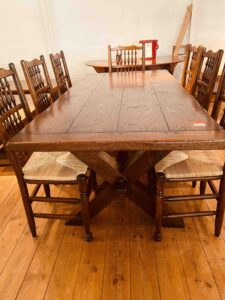 2. pre-owned X end tavern _ refectory table, 76_ x 36_, character oak, light warm antique