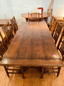 2. pre-owned X end tavern _ refectory table, 76_ x 36_, character oak, light warm antique - top