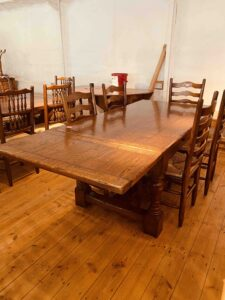 3. pre-owned draw leaf refectory table, 66_ x 36_ + 2 x 18_ ext leaves, character oak, light warm antique finish