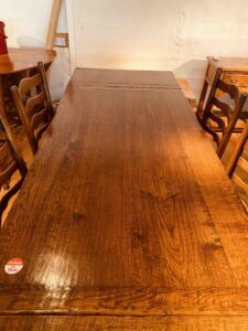 3. pre-owned draw leaf refectory table, 66_ x 36_ + 2 x 18_ ext leaves, character oak, light warm antique finish - top