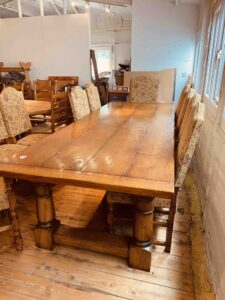 4. pre-owned canon leg refectory table, 114_ x 42_, character oak, antique light finish