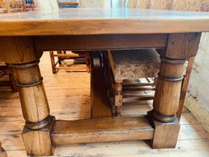 4. pre-owned canon leg refectory table, 114_ x 42_, character oak, antique light finish - base