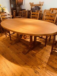 6. pre-owned oval refectory table on twin turned pillar base, 78_ x 51_, clean _ character oak, oil & wax natural finish