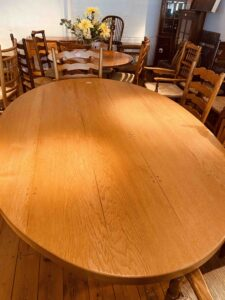 6. pre-owned oval refectory table on twin turned pillar base, 78_ x 51_, clean _ character oak, oil & wax natural finish - top