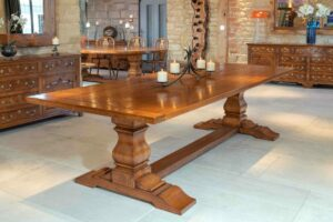 new - 1. Refectory table on heavy shaped baluster supports, 110_ x 42_ (2800 x 1070mm), oak and burr oak, antique light finish, seats 8_10, £6,595