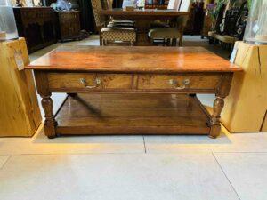 new - 101. Coffee table 48_ x 27_ x 20_, 2 x push through drawers, oak and burr oak, Norfolk medium finish, £1,595