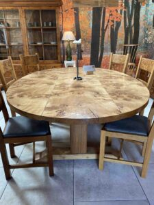 new - 2. Oval Quaker base table, 3 plank top, 87_ x 60_ (2210 x 1524mm), oak with super burr oak top, oil and wax finisg, seats 8_10, top, £6,995
