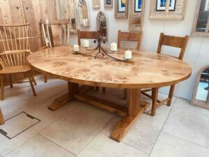 new - 2. Oval Quaker base table, 3 plank top, 87_ x 60_ (2210 x 1524mm), oak with super burr oak top, oil and wax finish, seats 8_10, £6,995