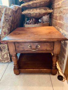 new - 201. Lamp table, 24_ x 24_ x 20_ (610 x 610 x 510mm), oak and burr oak, Norfolk medium finish, £1,295