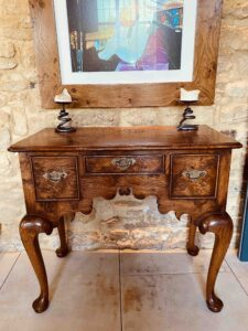 new - 202. Cabriole leg side table, 34_ x 17.5_ x 30_ (863 x 445 x 762mm), oak and burr oak, Norfolk medium finish, £ 2,595