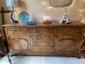 new - 301. Conway valley dresser base, 72_ x 17_ x 34_ (1830 x 430 x 860mm) -actual photo- oak and burr oak, Norfolk medium finish £4,995
