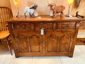 new - 302. Angelsey dresser base 1, 52_ x 18_ x 34_ (1320 x 460 x 860mm), oak and burr oak, Norfolk medium finish, £3,995