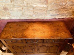new - 302. Angelsey dresser base 2 top, 52_ x 18_ x 34_ (1320 x 460 x 860mm), oak and burr oak, Norfolk medium finish, £3,995