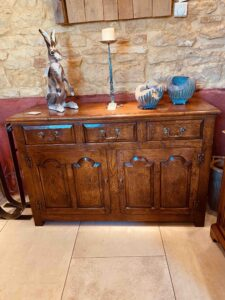 new - 303. Angelsey dresser base 2, 52_ x 18_ x 34_ (1320 x 460 x 860mm), oak and burr oak, Norfolk medium finish, £3,995