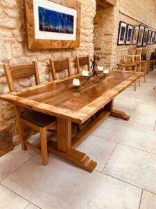 new - 4. Quaker table, 88_ x 36_ (2235 x 915mm) oak with burr oak and walnut top, oil and wax finish, seats 6_8, £3,995