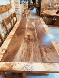 new - 4. Quaker table, top, 88_ x 36_ (2235 x 915mm) oak with burr oak and walnut top, oil and wax finish, seats 6_8, £3,995