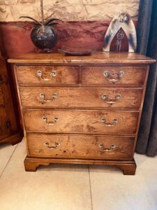 new - 401. Small chest of drawers, 29.5_ x 16_ x 30_ (750 x 450 x 762mm), oak and burr oak, Norfolk medium finish, £2,595