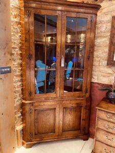 new - 403. Double corner cabinet, 44_ x 25_ x 80_ (1120 x 635 x 2032mm), oak and burr oak, Norfolk medium finish, £3,995