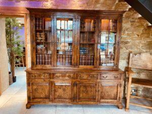 new - 404. Glazed top bookcase _ display cabinet, (actual photo) 84_ x 19_ x 84_ (2133 x 482 x 2133), oak and burr oak, glass shelves, downlights, Norfolk medium finish, £10,995