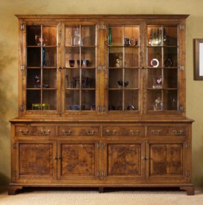 new - 404. Glazed top bookcase _ display cabinet, (generic photo) 84_ x 19_ x 84_ (2133 x 482 x 2133), oak and burr oak, glass shelves, downlights, Norfolk medium finish, £10,995