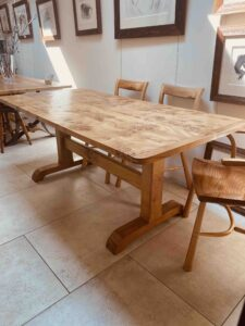 new - 5. Pilgrim table 75_ x 36_ (1906 x 915mm), oak with extreme burr oak top, oil and wax finish, seats 6_8, £3,495