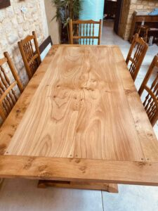 new - 5. Pilgrim table, top, 75_ x 36_ (1906 x 915mm), oak with oak and Sottish elm top, oil and wax finish, seats 6_8, £3,495