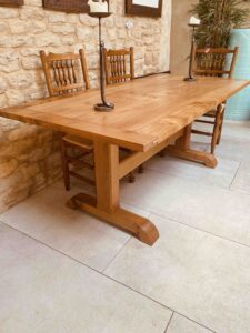 new - 6. Pilgrim table 75_ x 36_ (1906 x 915mm), oak with oak and Sottish elm top, oil and wax finish, seats 6_8, £3,495