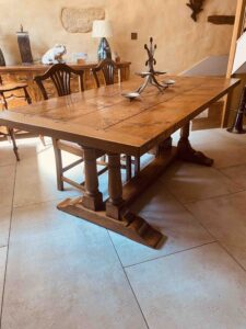 new - 8. Refectory table on twin turned pillar base, 78_ x 36_ + ext leaf of 21_ (1981 x 915mm + ext leaf of 535mm), character oak, antique light finish, seats 6_10, £4,190