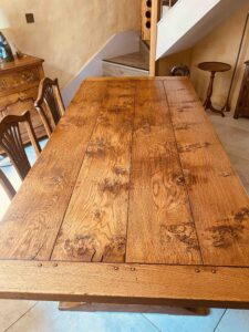 new - 8. Refectory table on twin turned pillar base, top 78_ x 36_ + ext leaf of 21_ (1981 x 915mm + ext leaf of 535mm), character oak, antique light finish, seats 6_10, £4,190