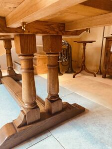 new - 8. Refectory table on twin turned pillar base, top 78_ x 36_ + ext leaf of 21_ showing ext bearers from underside, (1981 x 915mm + ext leaf of 535mm), character oak, antique light finish, seats 6_10, £4,190